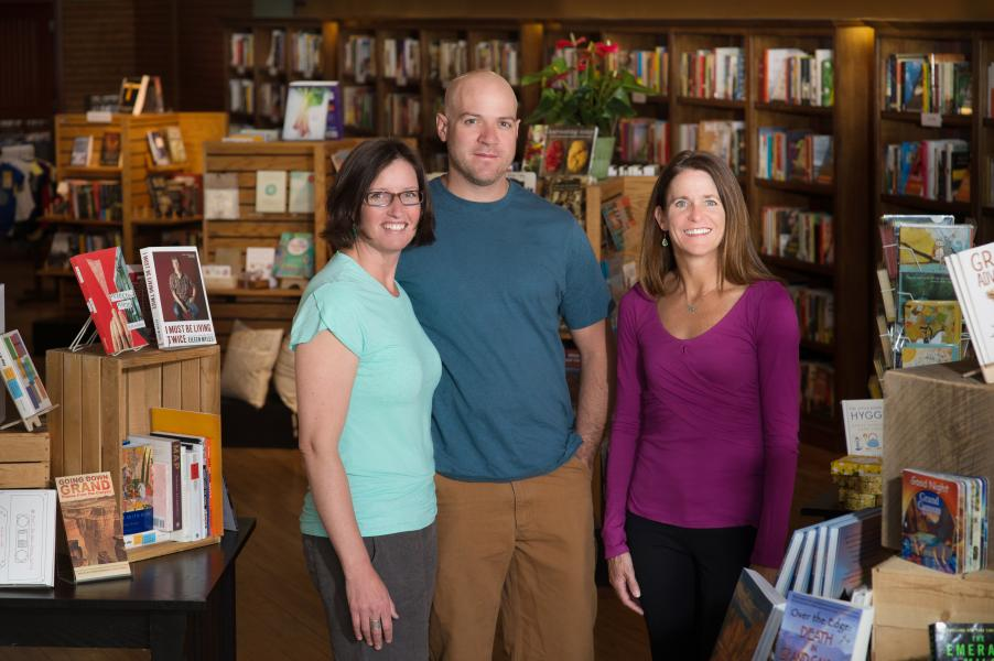 Bright Side Book Shop Owners Annette Avery, Lisa Lamberson and Ben Shafer